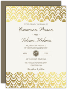 Gold Scallop Foil Wedding Invitation