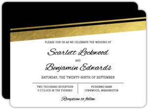 Modern Angled Gold Foil Wedding Invitation