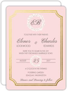 Blush Babys Breath Goil Foil Wedding Invitation