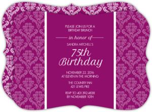 Magenta Texture 75th Birthday Invitation