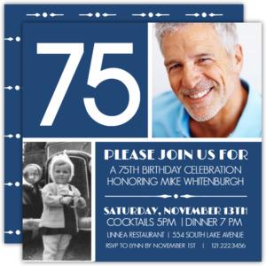 White Bold 75 on Navy 75th Birthday Invitation