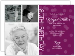 Timeline Confetti 80Th Birthday Invitation