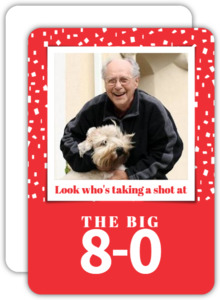 Red and White Confetti 80th Birthday Invitation