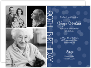 Timeline Confetti 90Th Birthday Invitation