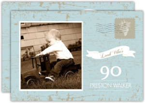 Vintage Postcard Look Whos 90th Birthday Invitation