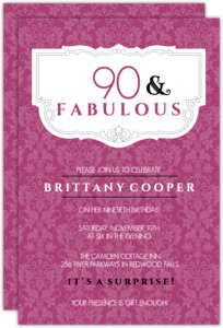 Pink And Fabulous 90Th Birthday Invitation