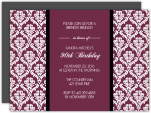 Maroon and Texture 90th Brithday Invitation
