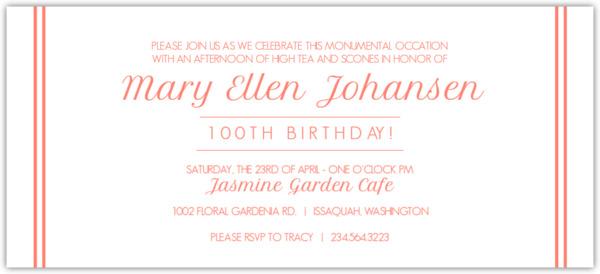 coral confetti and photos 100th birthday invitation | 100th, Birthday invitations