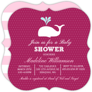 Classic Dots Pink Whale Baby Shower Invitation