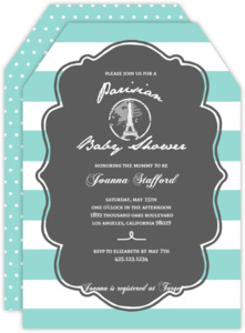 Pastel Paris Stamp Baby Shower Invitation