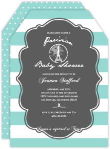 Pastel Paris Stamp Baby Shower Invitation