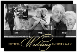 Classic Gold Photo Anniversary Invitation