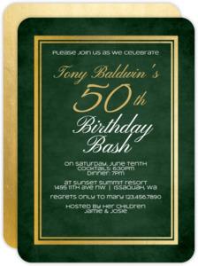 Green Chalkboard Gold Frame 50th Birthday Invitation