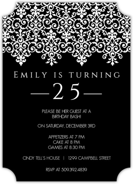elegant black and white 25th birthday invitation   custom magnet, Birthday invitations