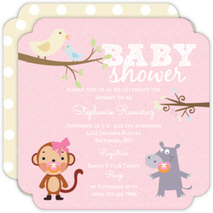 Hippo and Monkey Girl Baby Shower Invitation