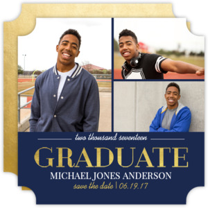Navy and Gold Graduation Save the Date Card