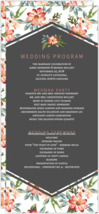 Delicate Watercolor Floral Wedding Program