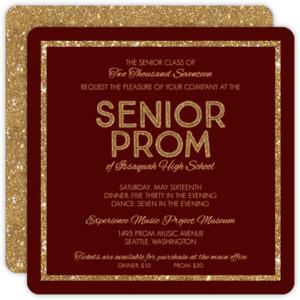 Faux Gold Glitter Prom Invitation