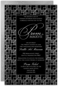 Modern Geometric Pattern Senior Prom Invitation