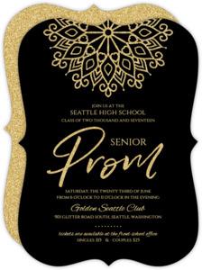 Elegant Faux Gold Glitter Senior Prom Invitation