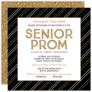 Faux Gold Glitter Stripes Prom Invitation