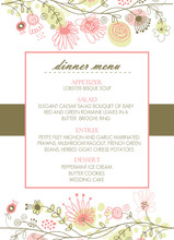 Spring Floral Border Menu Card