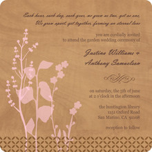 Rustic Woodgrain Floral Wedding Invite