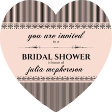 French Striped Heart Bridal Shower Invitation