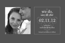 Gray and Elegant White Flourish Save The Date Magnet