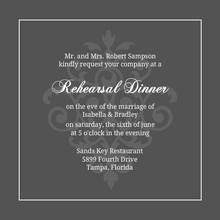 Gray and Elegant White Flourish Rehearsal Dinner
