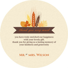 Rustic Fall Wheat and Leaf Bouquet Thank You Card