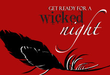 Black and Red Wicked Feather Halloween Wedding Invitation