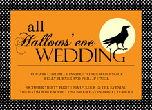 All Hallows Eve Crow Halloween Wedding Invitation