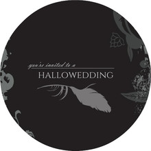 Black Floral Halloween Wedding Invitations
