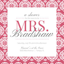 Papaya and White Floral Pattern Bridal Shower Invitation