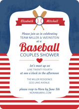 Blue and Red Striped Baseball Couples Shower Invitation