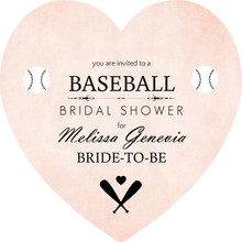 Pink Heart Baseball Bridal Shower Invite