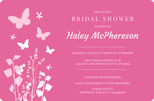 Pink Butterflies and Flowers Bridal Shower Invite