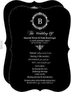 Black Floral Monogram Wedding Program