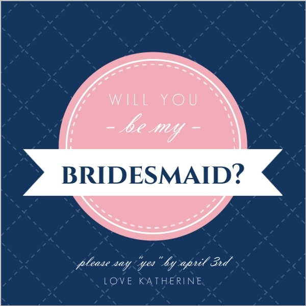 Navy and Pink Modern Banner Will You Be My Bridesmaid Card