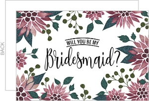 Colorful Faux Glitter Will You Be My Bridesmaid Card