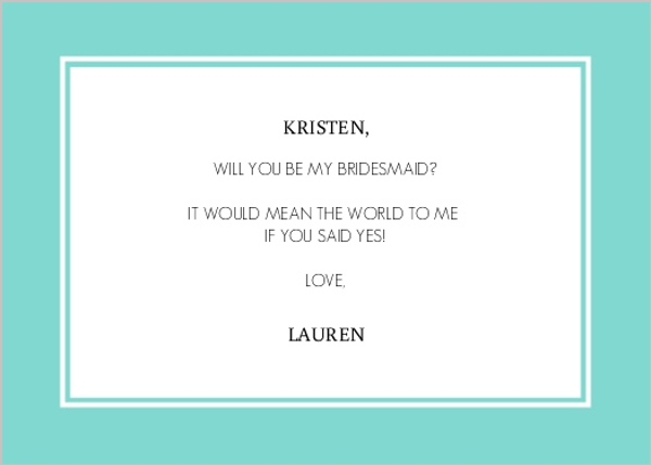 Delicated Frame Black and Blue Will You Be My Bridesmaid Card