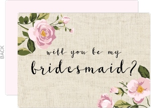 Soft Pink Flowers Will You Be My Bridesmaid Card