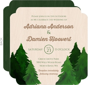 Rustic Watercolor Pine Tree Wedding Invite