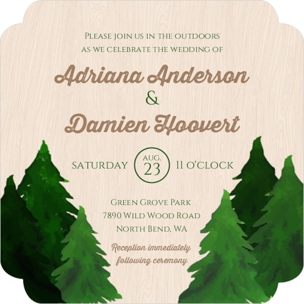 Pine Tree Country Wedding Invite