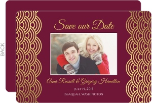 Elegant Cabernet Scallop Gold Foil Save The Date Card