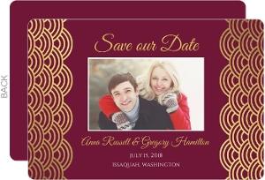Elegant Cabernet Scallop Gold Foil Save The Date Card