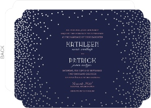 Navy and Silver Foil Confetti Wedding Invitation
