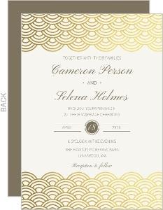 Scallop Pattern Gold Foil Wedding Invitation