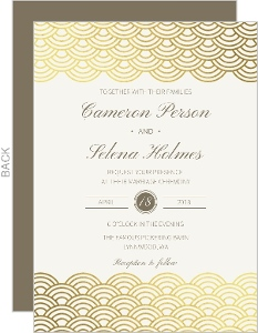 Scallop Pattern Gold Foil Wedding Invitation